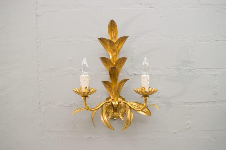 Pair of Hollywood Regency Double Wall Lights by Hans Kögl, Germany, 1970s In Good Condition For Sale In Nürnberg, Bayern