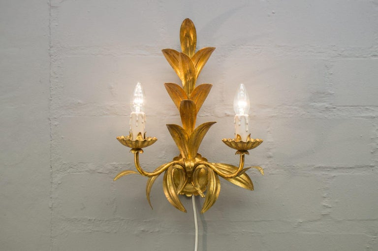 Late 20th Century Pair of Hollywood Regency Double Wall Lights by Hans Kögl, Germany, 1970s For Sale