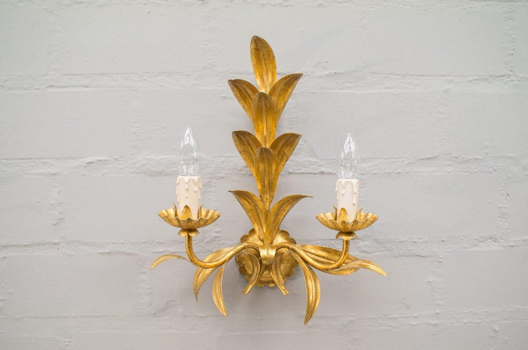 Brass Pair of Hollywood Regency Double Wall Lights by Hans Kögl, Germany, 1970s For Sale