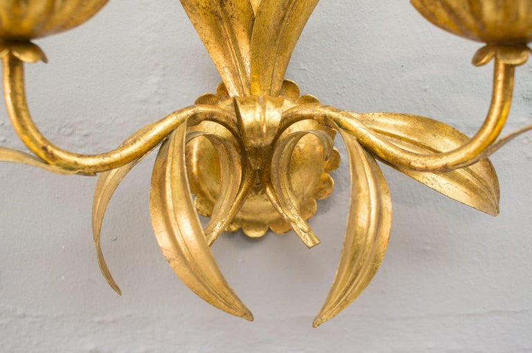 Pair of Hollywood Regency Double Wall Lights by Hans Kögl, Germany, 1970s For Sale 1