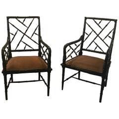 Pair of Hollywood Regency Ebonized Wood Accent Chairs