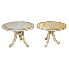 Pair of Hollywood Regency Églomisé Top Painted Side, End or Centre Tables