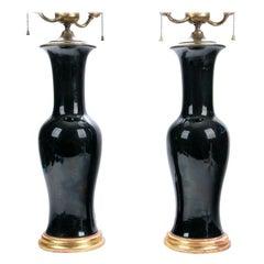 Pair of Hollywood Regency Era Chinese Black Glazed Vases Mounted as Lamps