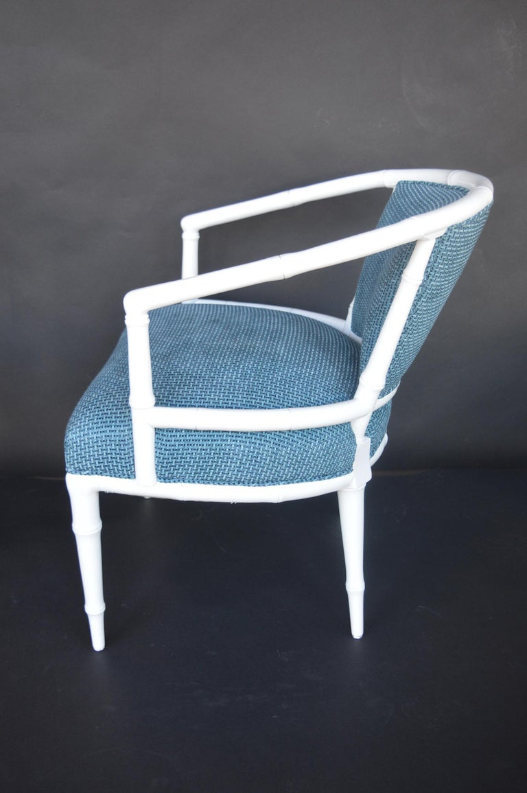Pair of Hollywood Regency Faux Bamboo Chairs In Excellent Condition For Sale In Los Angeles, CA