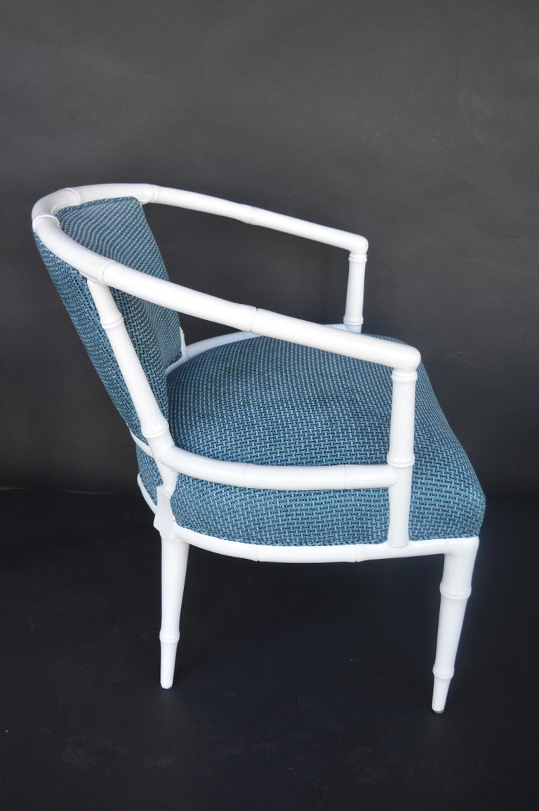 Pair of Hollywood Regency Faux Bamboo Chairs For Sale 2
