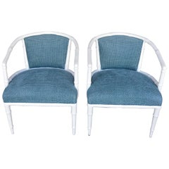 Pair of Hollywood Regency Faux Bamboo Chairs