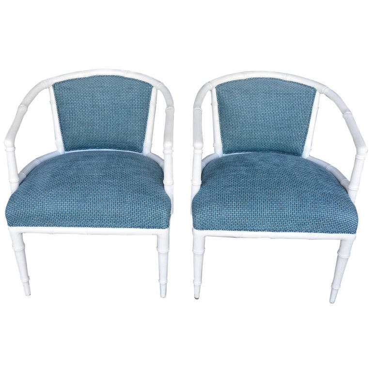 Pair of Hollywood Regency Faux Bamboo Chairs For Sale