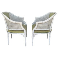 Pair of Hollywood Regency Faux Bamboo Chairs with Cane Back in White lacquer
