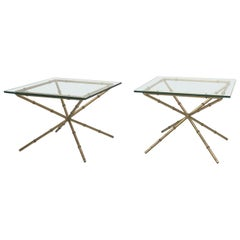 Pair of Hollywood Regency Faux Bamboo Glass Top Side Tables