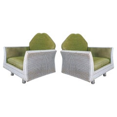 Pair of Hollywood Regency Faux Bamboo Lounge Chairs with Cane Back