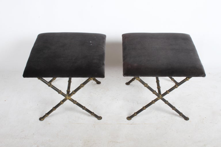 American Pair of Hollywood Regency Faux Bamboo X-Base Stools, Benches or Ottomans For Sale