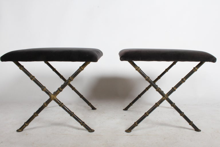 Cold-Painted Pair of Hollywood Regency Faux Bamboo X-Base Stools, Benches or Ottomans For Sale
