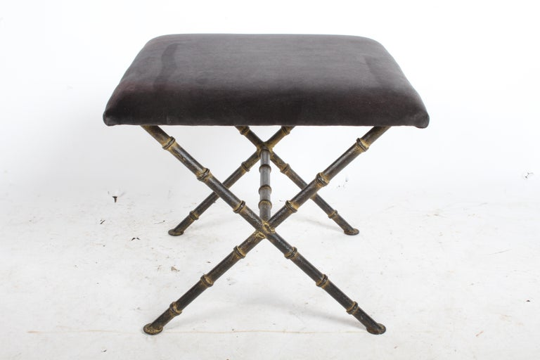 Pair of Hollywood Regency Faux Bamboo X-Base Stools, Benches or Ottomans In Good Condition For Sale In St. Louis, MO