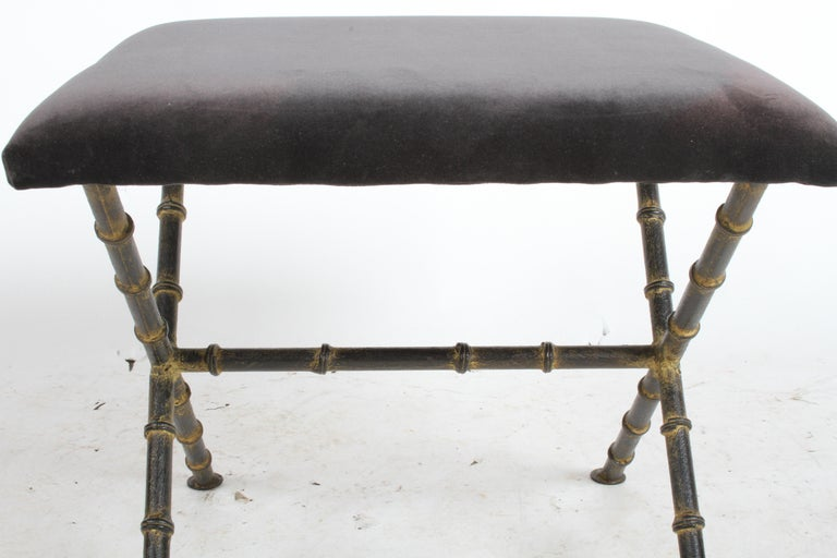 Iron Pair of Hollywood Regency Faux Bamboo X-Base Stools, Benches or Ottomans For Sale