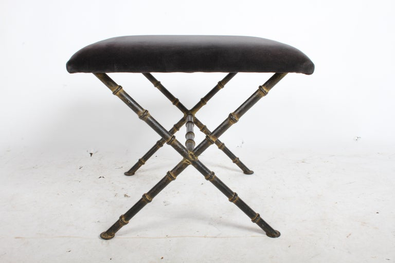 Pair of Hollywood Regency Faux Bamboo X-Base Stools, Benches or Ottomans For Sale 1