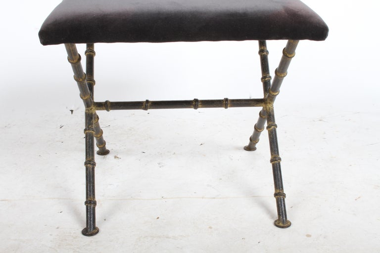 Pair of Hollywood Regency Faux Bamboo X-Base Stools, Benches or Ottomans For Sale 2