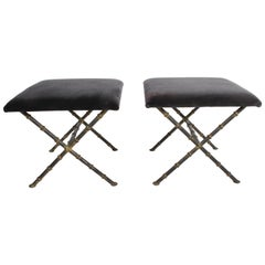 Pair of Hollywood Regency Faux Bamboo X-Base Stools, Benches or Ottomans