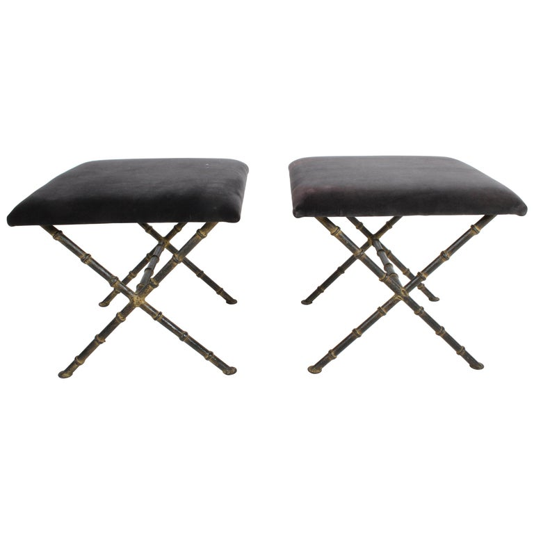 Pair of Hollywood Regency Faux Bamboo X-Base Stools, Benches or Ottomans For Sale