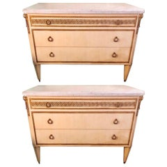 Pair of Hollywood Regency Faux Linen Greek Key Design White Marble-Top Commodes
