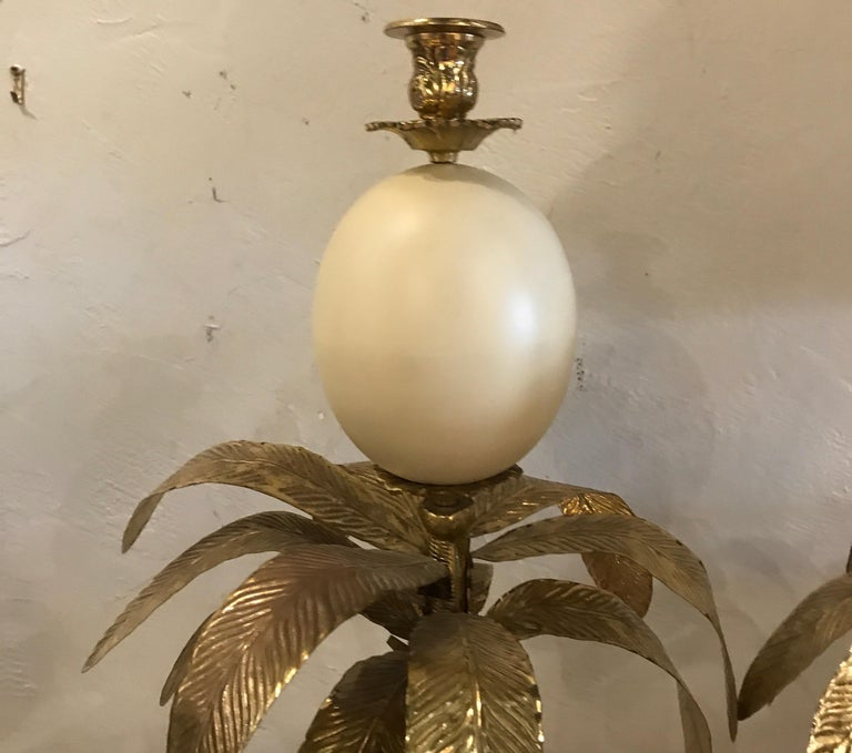 Brass Pair of Hollywood Regency Faux Ostrich Egg, Ostrich & Palm Tree Candlesticks