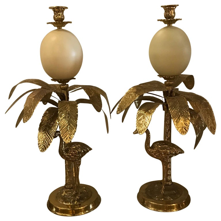 Pair of Hollywood Regency Faux Ostrich Egg, Ostrich & Palm Tree Candlesticks