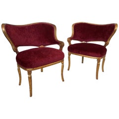 Pair of Hollywood Regency Fireside Chairs Attributed to Grosfeld House
