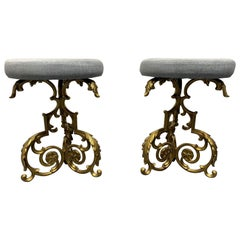 Pair of Hollywood Regency Floral Stools
