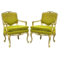 Pair of Hollywood Regency French Louis XV Cream Green Fireside Lounge Armchair
