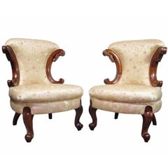 Pair of Hollywood Regency French Louis XV Style Slipper Fireside Lounge Chair