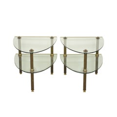 Pair of Hollywood Regency French Style Brass and Glass Two-Tier Side Tables