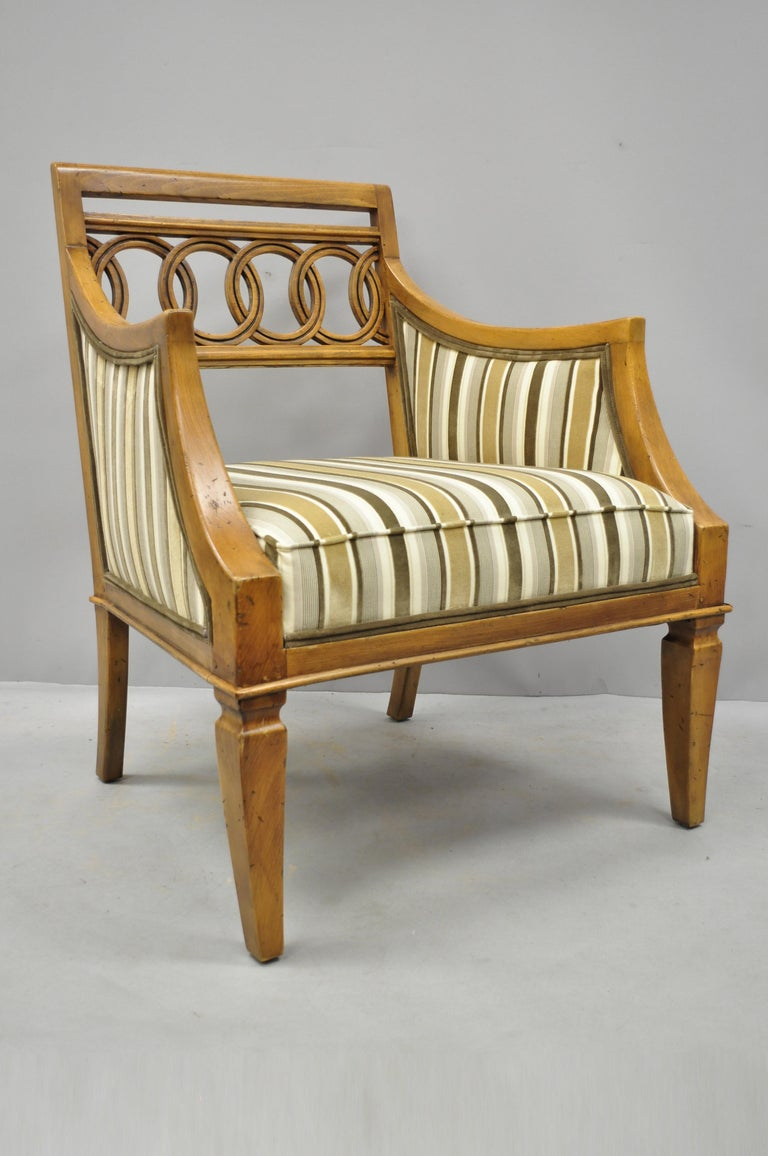 Pair of Hollywood Regency French Style Carved Spiral Back Armchairs For Sale 4