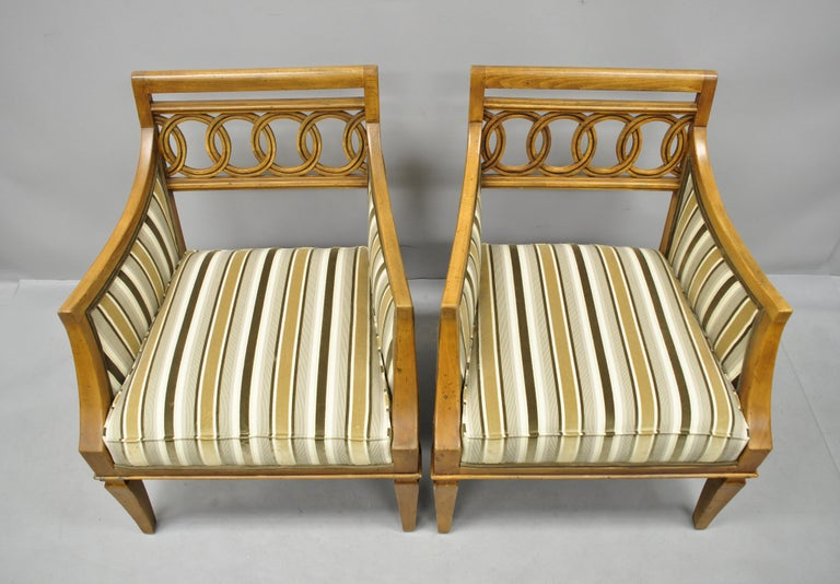 American Pair of Hollywood Regency French Style Carved Spiral Back Armchairs For Sale