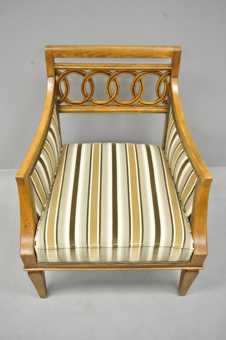 Pair of Hollywood Regency French Style Carved Spiral Back Armchairs For Sale 1
