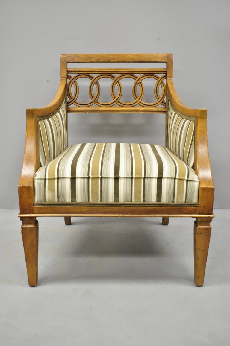 Pair of Hollywood Regency French Style Carved Spiral Back Armchairs For Sale 2