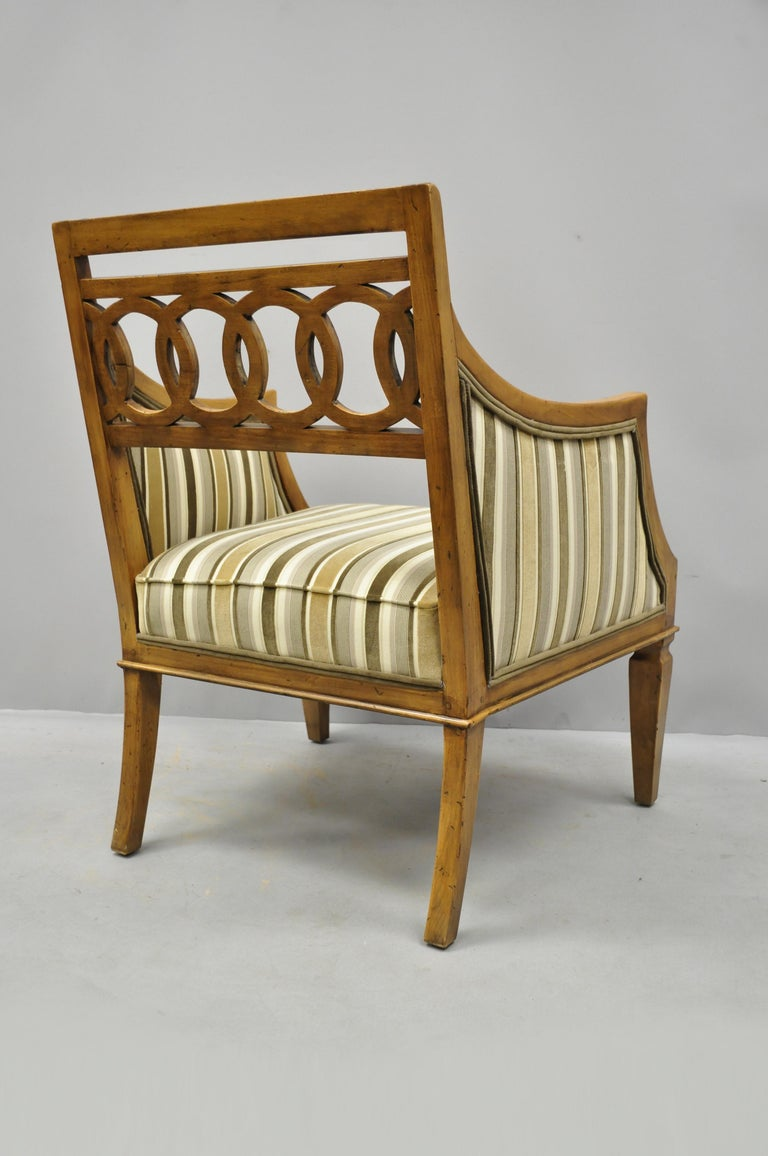 Pair of Hollywood Regency French Style Carved Spiral Back Armchairs For Sale 3