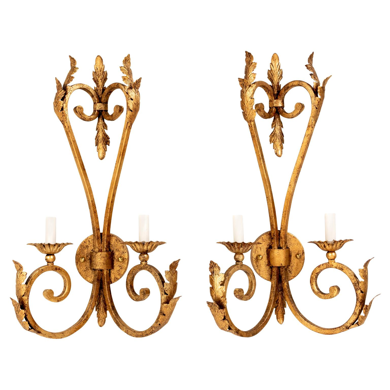 Pair of Hollywood Regency Gilded Iron Sconces