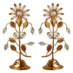 Pair of Hollywood Regency Gilt Brass and Crystal Flowers Table Lamps Palwa Style