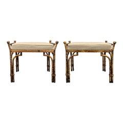 Pair of Hollywood Regency Gilt Metal Benches, Bamboo Motif, circa 1960s