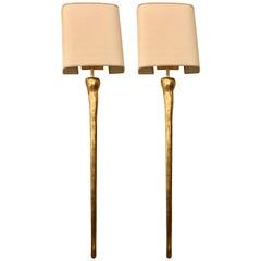 Pair of Hollywood Regency Gilt Metal Torch Form Wall Sconces with Custom Shades