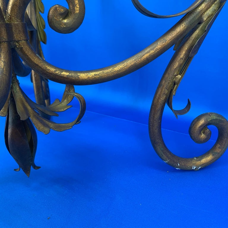 Pair of Round Italian Gilt Metal and Glass Top Side Tables For Sale 11