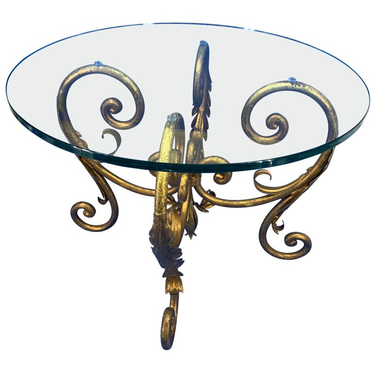 Pair of Round Italian Gilt Metal and Glass Top Side Tables For Sale 1