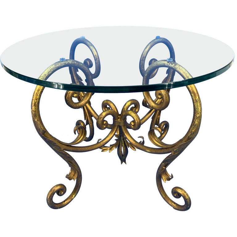 American Pair of Round Italian Gilt Metal and Glass Top Side Tables For Sale