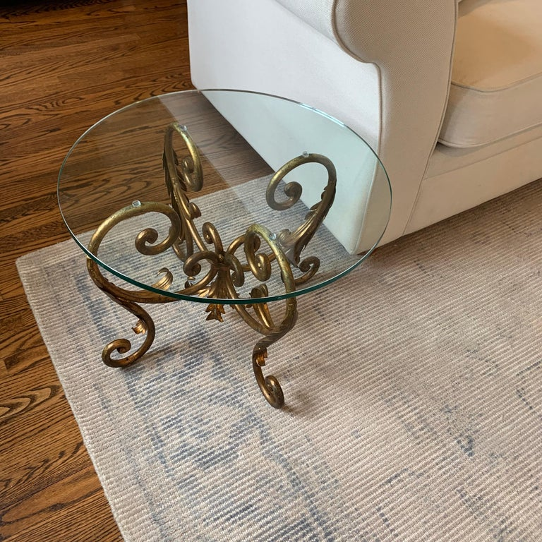 Pair of Round Italian Gilt Metal and Glass Top Side Tables For Sale 3