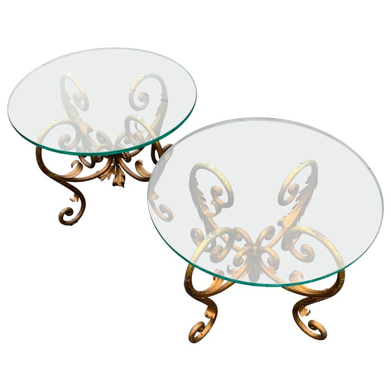 Hollywood Regency Pair of Round Italian Gilt Metal and Glass Top Side Tables For Sale