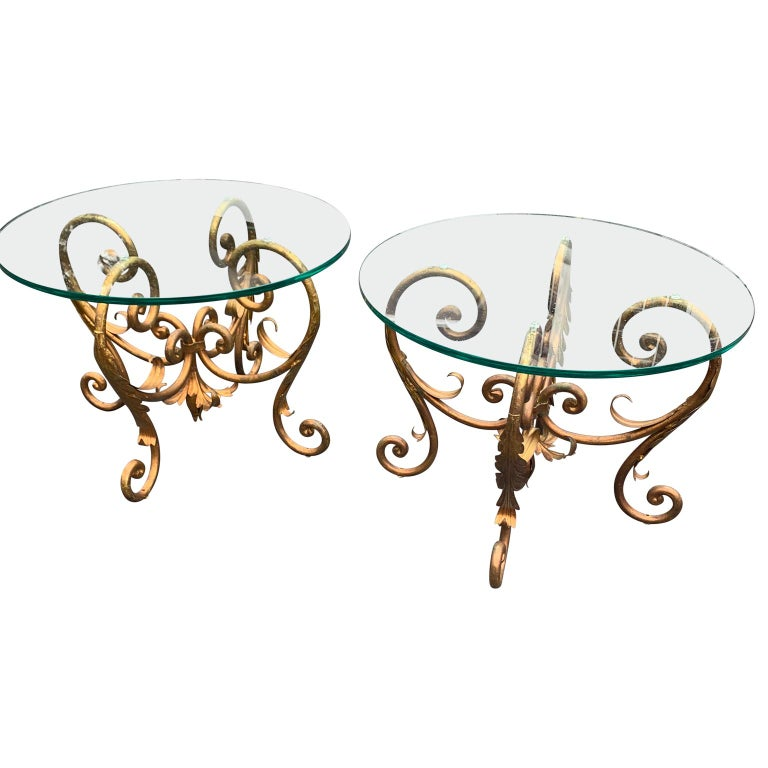 Pair of Round Italian Gilt Metal and Glass Top Side Tables In Good Condition For Sale In Haddonfield, NJ