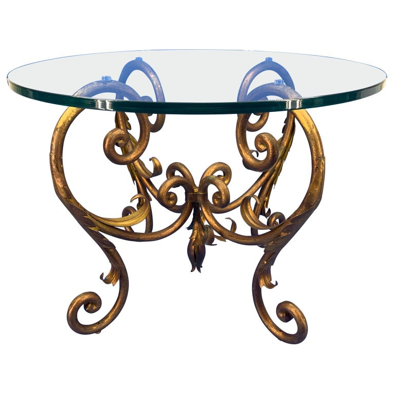 20th Century Pair of Round Italian Gilt Metal and Glass Top Side Tables For Sale