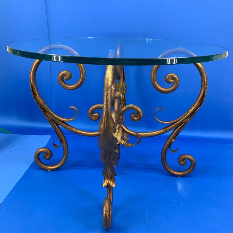 Pair of Round Italian Gilt Metal and Glass Top Side Tables For Sale 6
