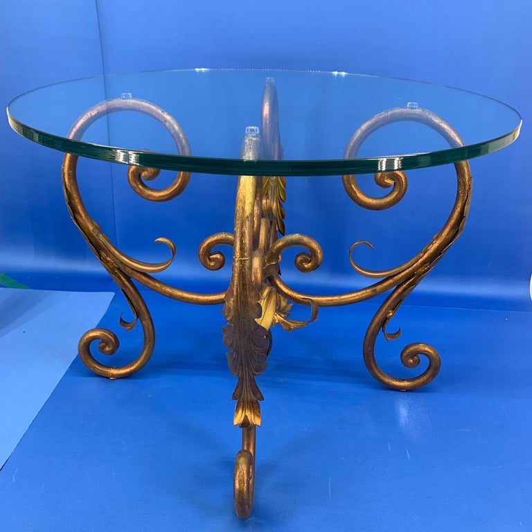 Pair of Round Italian Gilt Metal and Glass Top Side Tables For Sale 7