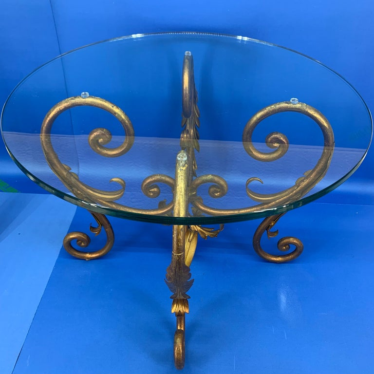 Pair of Round Italian Gilt Metal and Glass Top Side Tables For Sale 8