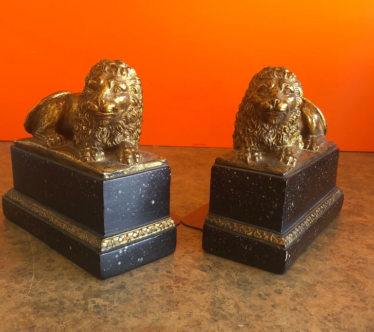 Italian Pair of Hollywood Regency Gold Gilt Lion Bookends by Borghese For Sale